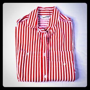 Diane Von Furstenberg red and white button shirt